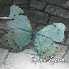 Крылья бабочки из органзы, 36х47 мм, цв. желто-зеленый  (1 шт.)