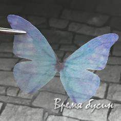 Крылья бабочки из органзы, 23х48 мм, цв. сине-голубой  (1 шт.)