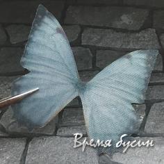 Крылья бабочки из органзы, 44х46 мм, цв. серый   (1 шт.)