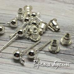 Швензы гвоздики, цв. серебро, 4х15 мм (1 пара)