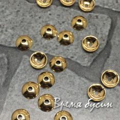 Шапочки для бусин 4 мм, латунь с позолотой (1 шт.)