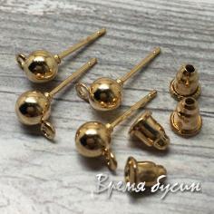 Швензы гвоздики, цв. золото, 5х15 мм (1 пара)