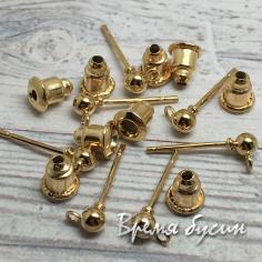 Швензы гвоздики, цв. золото, 3х15 мм (1 пара)