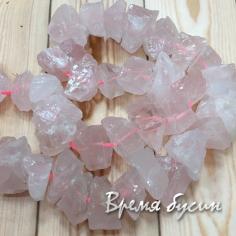 Розовый кварц. Бусины - кусочки необработанного камня (1 шт.)