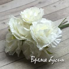 Цветы из ткани, букетик цв. молочный  (6 шт.)