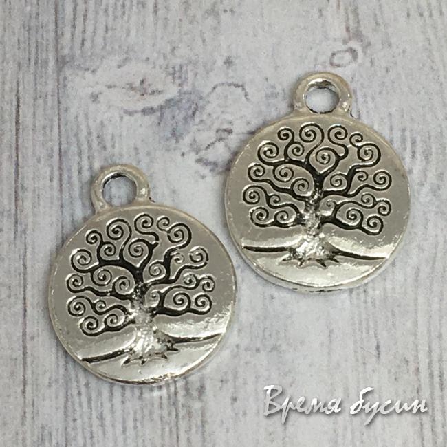 Медальон с деревом. Подвеска металлическая, цв. серебро (1 шт.)