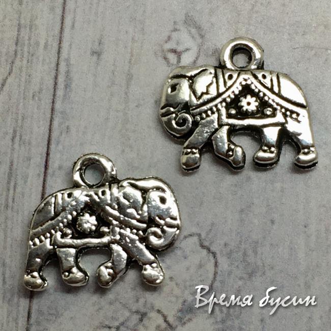Слон. Подвеска металлическая, цв. серебро (1 шт.)