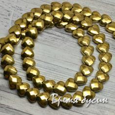 Гематит, плоское граненое сердце 6 мм, цв. золото (1 шт.)