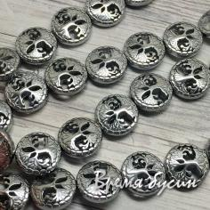 Гематит, монетка резная с деревом, 12 мм, цв. серебро (1 шт.)