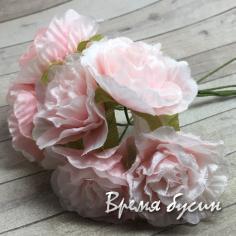Цветы из ткани, букетик цв. персиковый  (6 шт.)