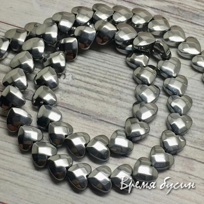 Гематит, плоское граненое сердце 6 мм, цв. серебро (1 шт.)