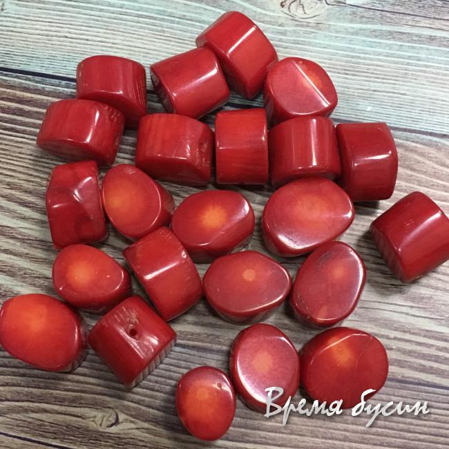 Коралл натуральный, бусины овальчики, цв. красный (1 шт.)