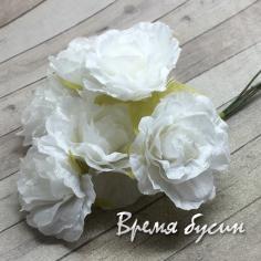 Цветы из ткани, букетик цв.  белый (6 шт.)