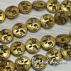 Гематит, монетка резная с деревом, 12 мм, цв. золото (1 шт.)