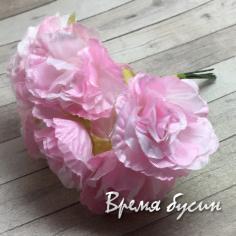 Цветы из ткани, букетик цв. розовый  (6 шт.)