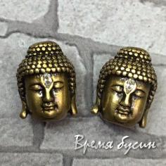 """Бусина с фианитами """"Будда"""", латунь с покрытием под бронзу  (1 шт.)"""