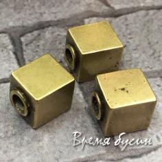 Бусина кубик, латунь с покрытием под бронзу  (1 шт.)