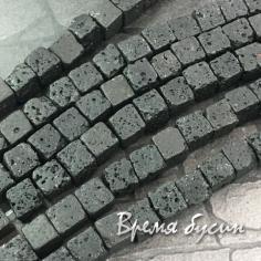 Лава черная, кубик 7 мм (1/2 нити, ок. 25 шт.)