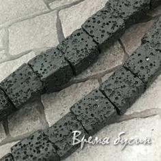 Лава черная, кубик 11 мм (1/2 нити, ок. 16 шт.)