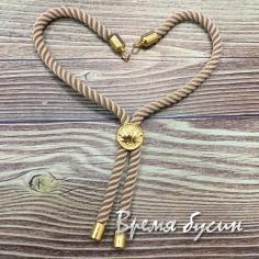 Основа для браслета из шнура, латунь с позолотой (1 шт.) цв. ТЕЛЕСНЫЙ