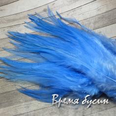 Перо петуха, цвет ГОЛУБОЙ, длина 10-15 см (1 шт.)