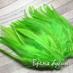 Перо петуха, цвет ЯБЛОЧНЫЙ, длина 10-15 см (1 шт.)