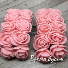 Цветы из фоамирана, букетик роз, 20 мм цв. ПЕРСИКОВЫЙ  (12 шт.)