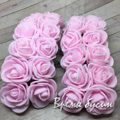 Цветы из фоамирана, букетик роз, 20 мм цв. НЕЖНО-РОЗОВЫЙ (12 шт.)