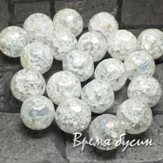 Ледяной кварц белый. Шарик граненый с АБ переливом 6-8-10-12 мм (1 шт.)