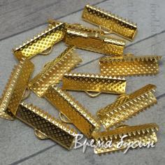 Зажим для широких лент, 8х20 мм, цв. золото (1 шт.)