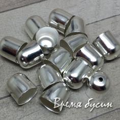 Концевик металлический, цвет серебро, 10х11 мм (1 шт.)