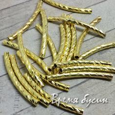 Трубочки-разделители рифленые, цвет золото, 3х35 мм (10 шт.)