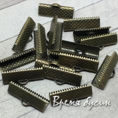 Зажим для широких лент, 8х35 мм, цв. медь (1 шт.)