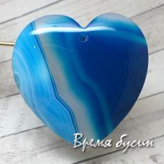 Подвеска из камня, Агат тонированный, сердце 43х45 мм (1 шт.)