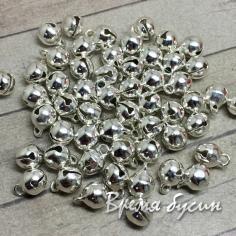 Бубенчики металлические, 6 мм, цвет серебро (1 шт.)