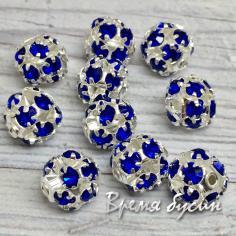 Бусины из филиграни со стразами, 8 мм, цв. синий  (1 шт.)