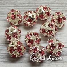 Бусины из филиграни со стразами, 8 мм, цв. розовый  (1 шт.)