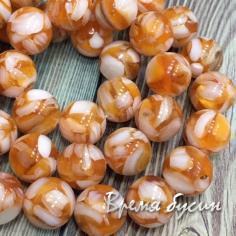 Мозаика из перламутра, шарик гладкий 10 мм, цв. оранжевый (1 шт.)