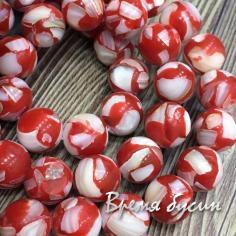 Мозаика из перламутра, шарик гладкий 10 мм, цв. красный (1 шт.)