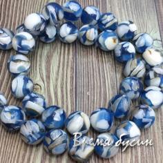Мозаика из перламутра, шарик гладкий 10 мм, цв. синий (нить, 38  шт.)