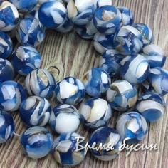 Мозаика из перламутра, шарик гладкий 10 мм, цв. синий (1 шт.)