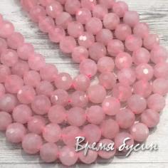Розовый кварц, шарик 8 мм с ювелирной огранкой (1/2 нити, ок. 24 шт.)