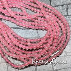 Розовый кварц. Шарик гладкий 4 мм  (нить, 90 шт.)