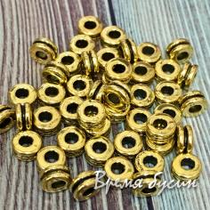 Разделители для бусин под золото, 5х3 мм (5 гр., ок. 21 шт.)
