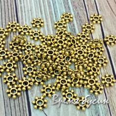 Разделители для бусин под золото, 4х4 мм (5 гр., ок. 68 шт.)