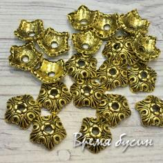 Шапочки для бусин, цв. золото, 10 мм (5 гр., ок. 14 шт.)
