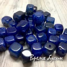 Агат тонированный, кубик 10 мм, цв. СИНИЙ   (1 шт.)