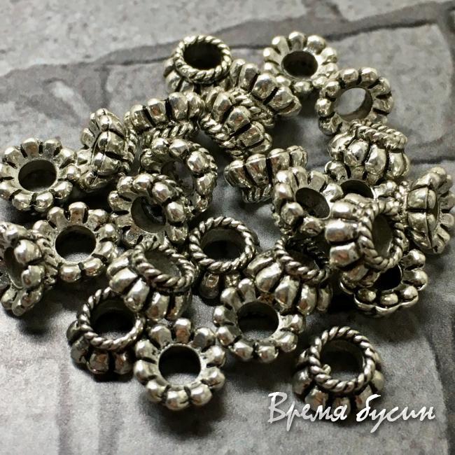 Разделители для бусин под серебро, 6 мм (5 гр., ок. 13 шт.)