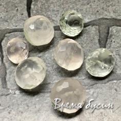 Сет бусин из камня. Розовый кварц + Горный хрусталь бриолетт (1 упак.)