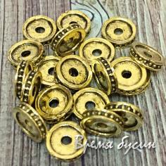 Разделители для бусин под золото, 8х2 мм (5 гр., ок. 10 шт.)